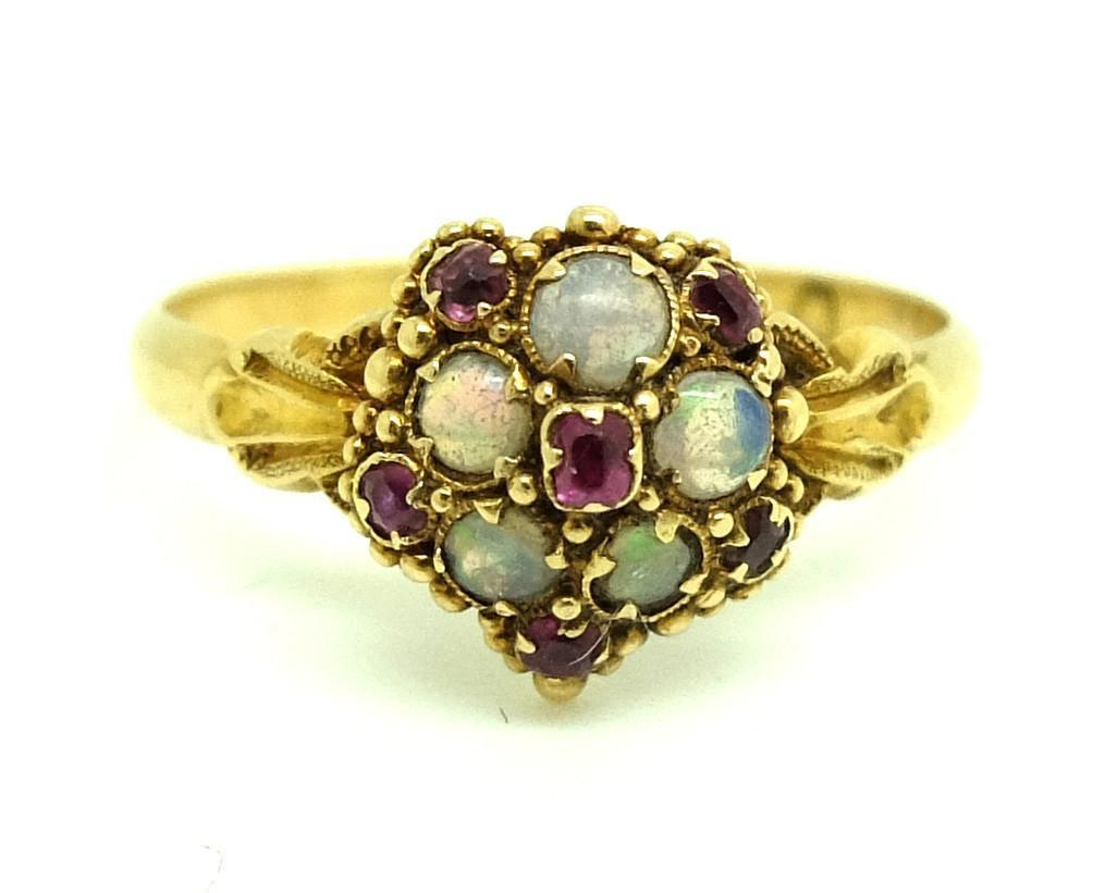 Victorian Opal and Ruby 18ct Yellow Gold Ring (Size: 0)