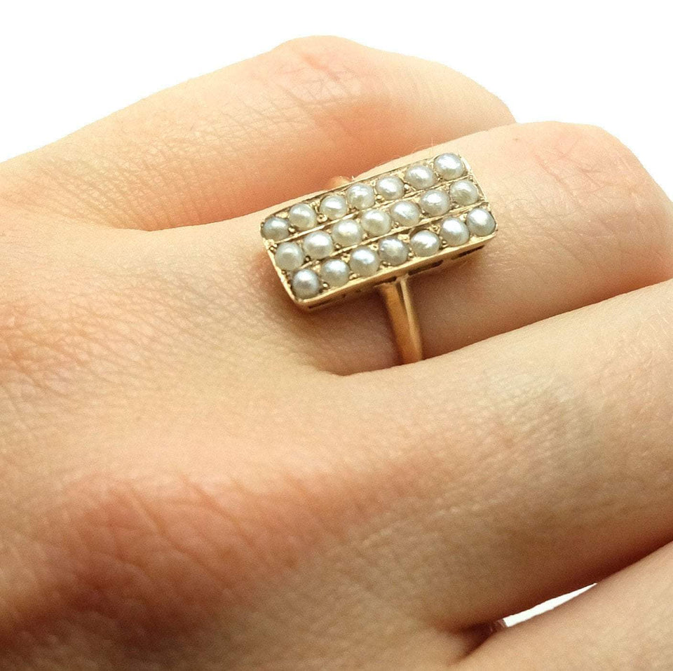 Victorian Seed Pearl Yellow Gold Ring (Size I 1/2)