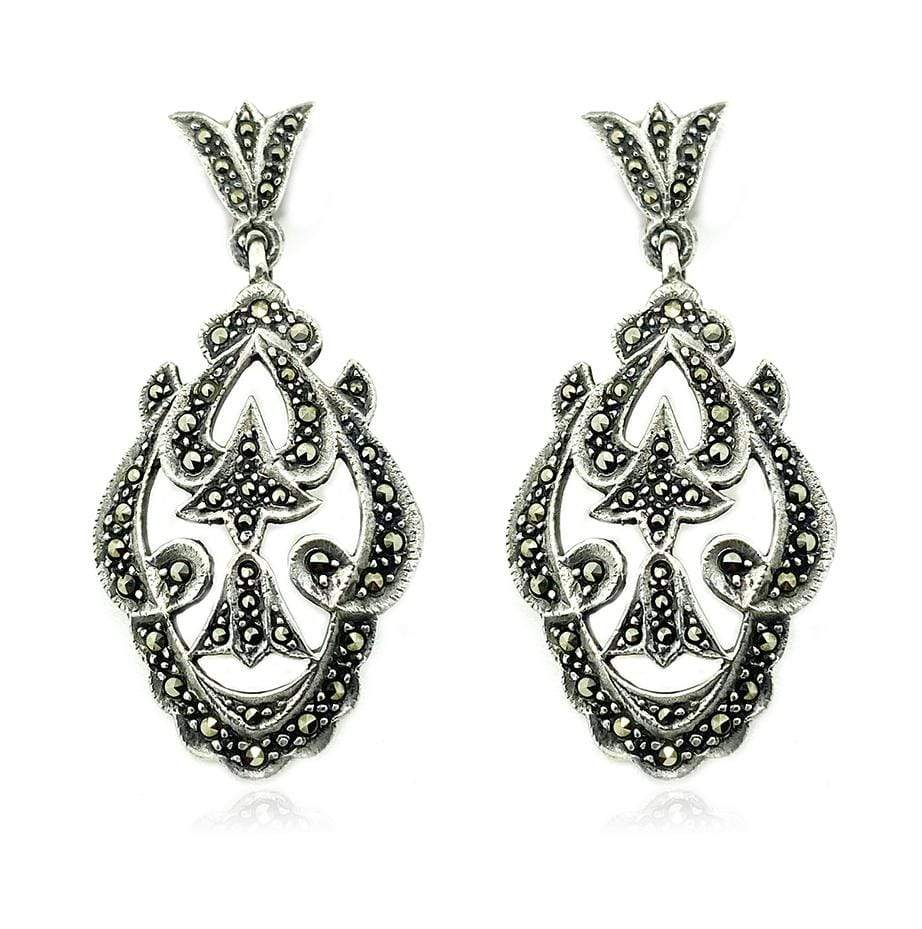 VINTAGE Earrings Vintage Marcasite Silver Drop Earrings