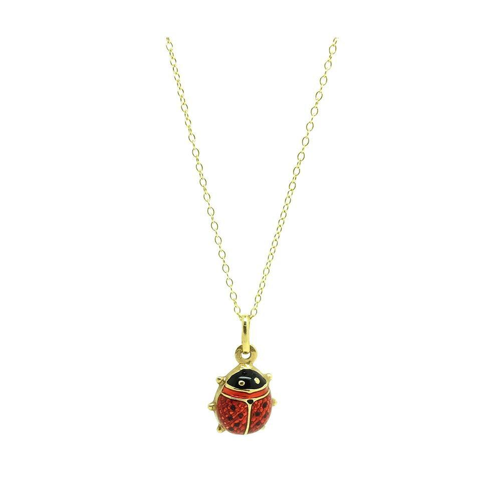 Vintage Ladybird Enamel 9ct Gold Charm Necklace