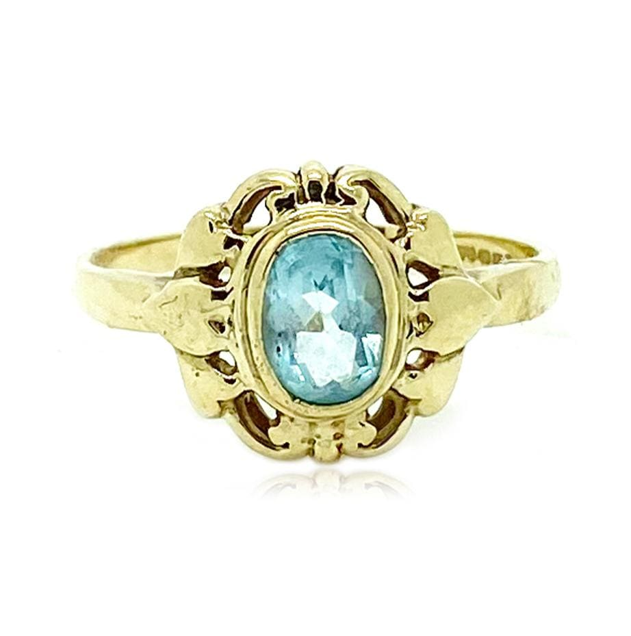 VINTAGE Ring Vintage Blue Topaz 9ct Gold Heart Ring