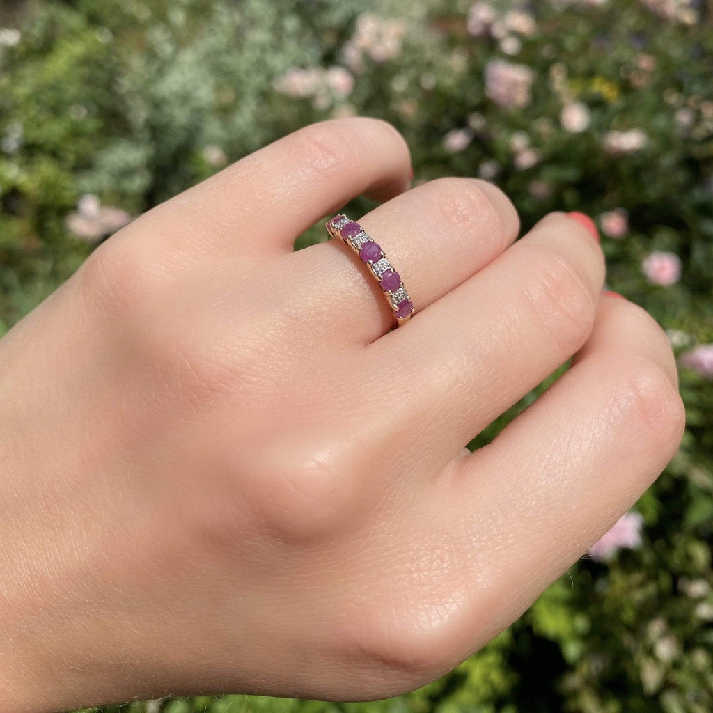 VINTAGE Ring Vintage Ruby & Diamond 9ct Half Eternity Band Ring