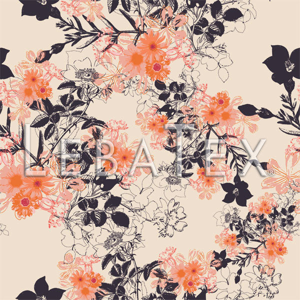 LebaTex Botanical Sketch-Peach Customizable M.O.D. Fabric