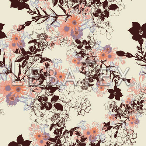LebaTex Botanical Sketch-Tea Customizable M.O.D. Fabric