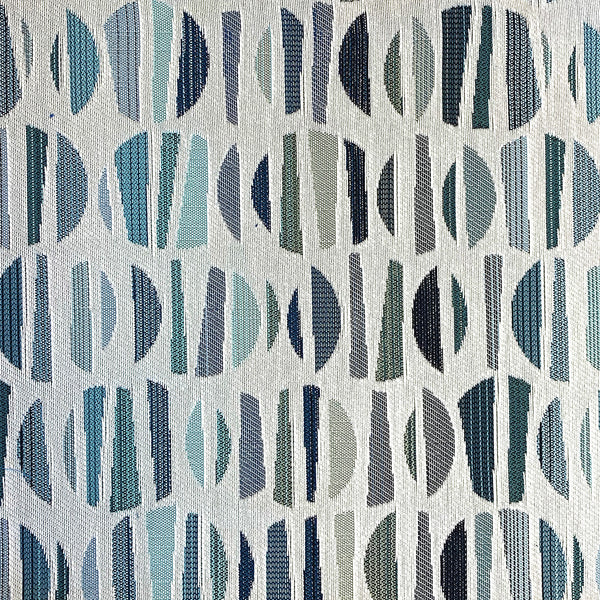 Geometric blue and white Crypton upholstery fabric