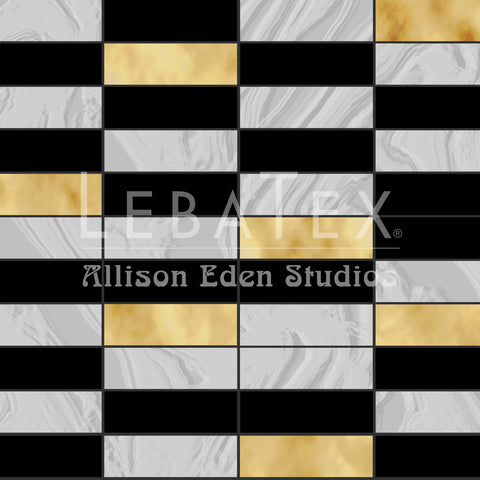 Subway Tile-Gold Customizable Fabric