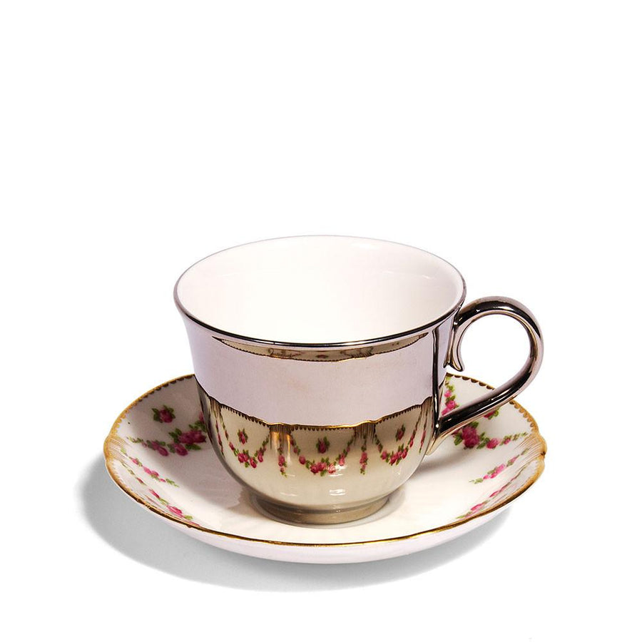 Platinum Teacup & Crescent Pottery Saucer, c.1930