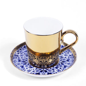 Gold Espresso Cup and Blue Royal Crown Derby Saucer c1880s
