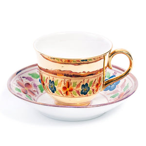 Gold Teacup & Saucer, Maker Unknown c.1850