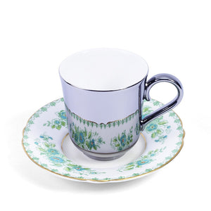 Richard Brendon Platinum Espresso Cup and Green Royal Crown Derby Saucer c1940s