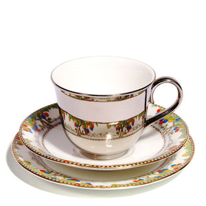 Richard Brendon Platinum Teacup with Ainsley Saucers 1930