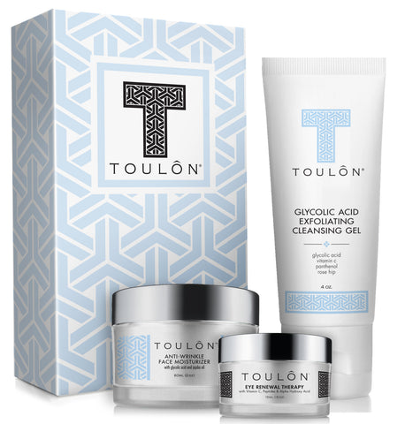 Glycolic Acid Skin Care Gift Set: Glycolic Acid Cleanser, Daily Face Moisturizer & Eye Cream
