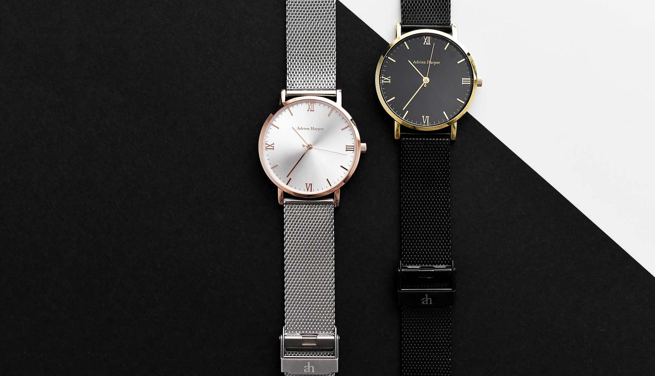Rose gold and black mesh watch for women