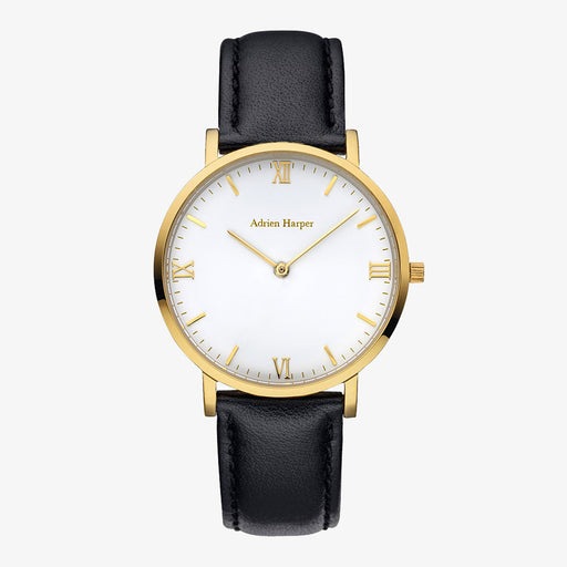 Gold womans watch white face