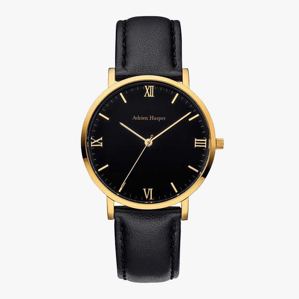 Gold and black womans watch with black leather