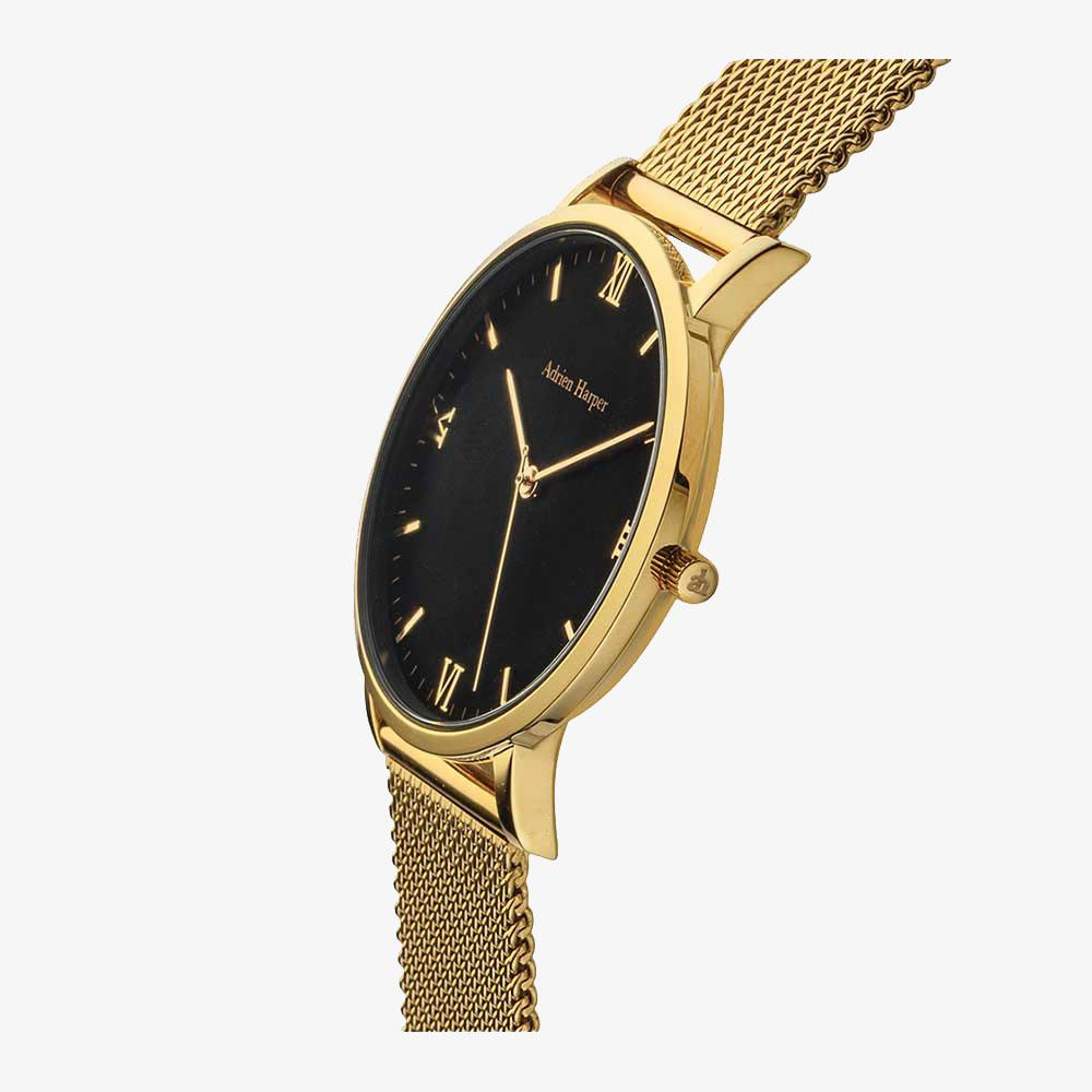 Gold and black female mesh watch