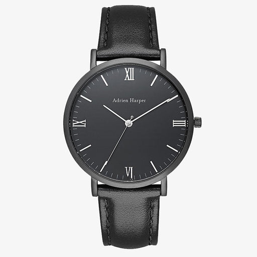 All black leather mens watch