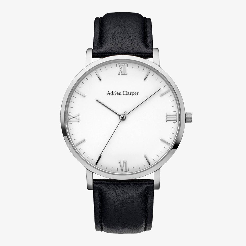 CLASSIC MENS WATCH BLACK LEATHER