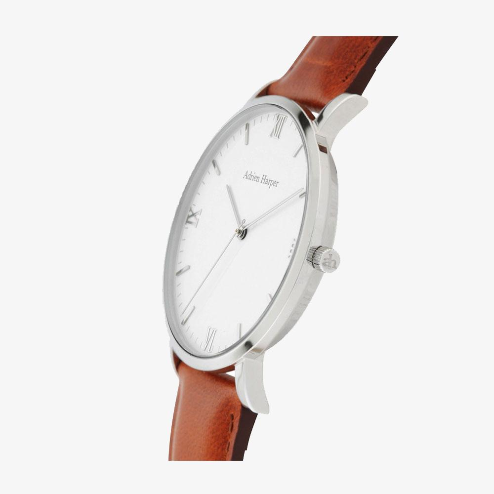 CLASSIC Silver MAN'S WATCH BROWN LEATHER