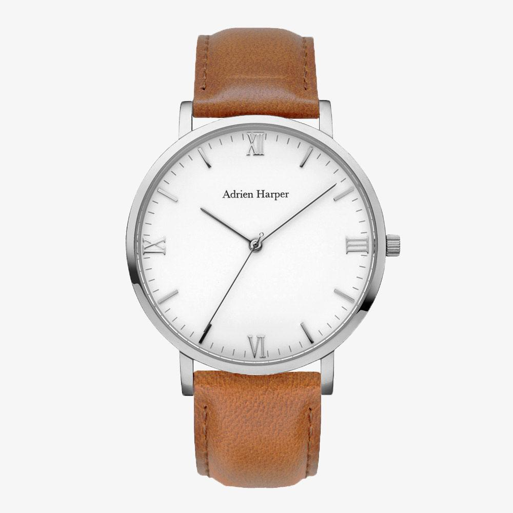 CLASSIC MENS SiLVER WATCH BROWN LEATHER