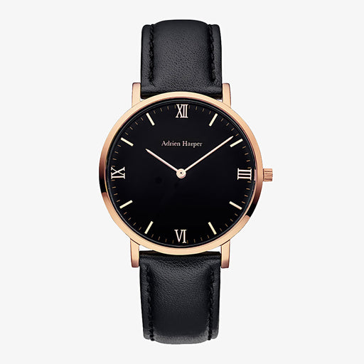 Rose Gold Black Woman's Watch with black leather