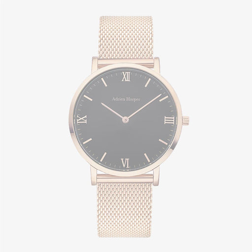 Rose Gold Black Face Mesh Strap Woman's Ladies Watch Watches