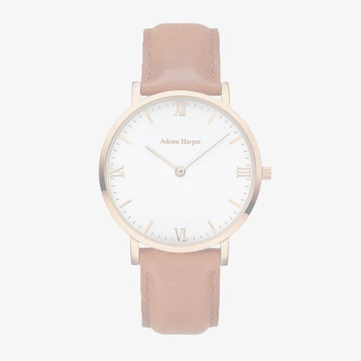 Rose White - Brown Leather