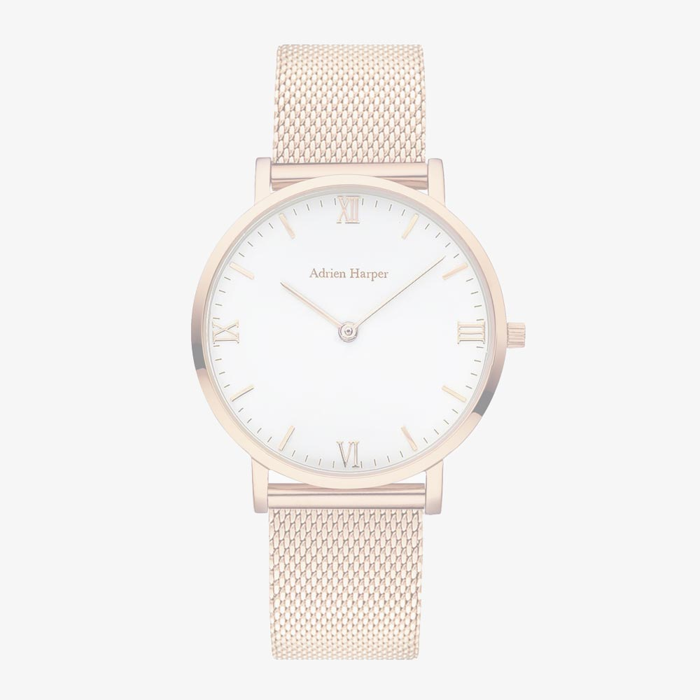 Rose Gold Woman's Mesh Watch