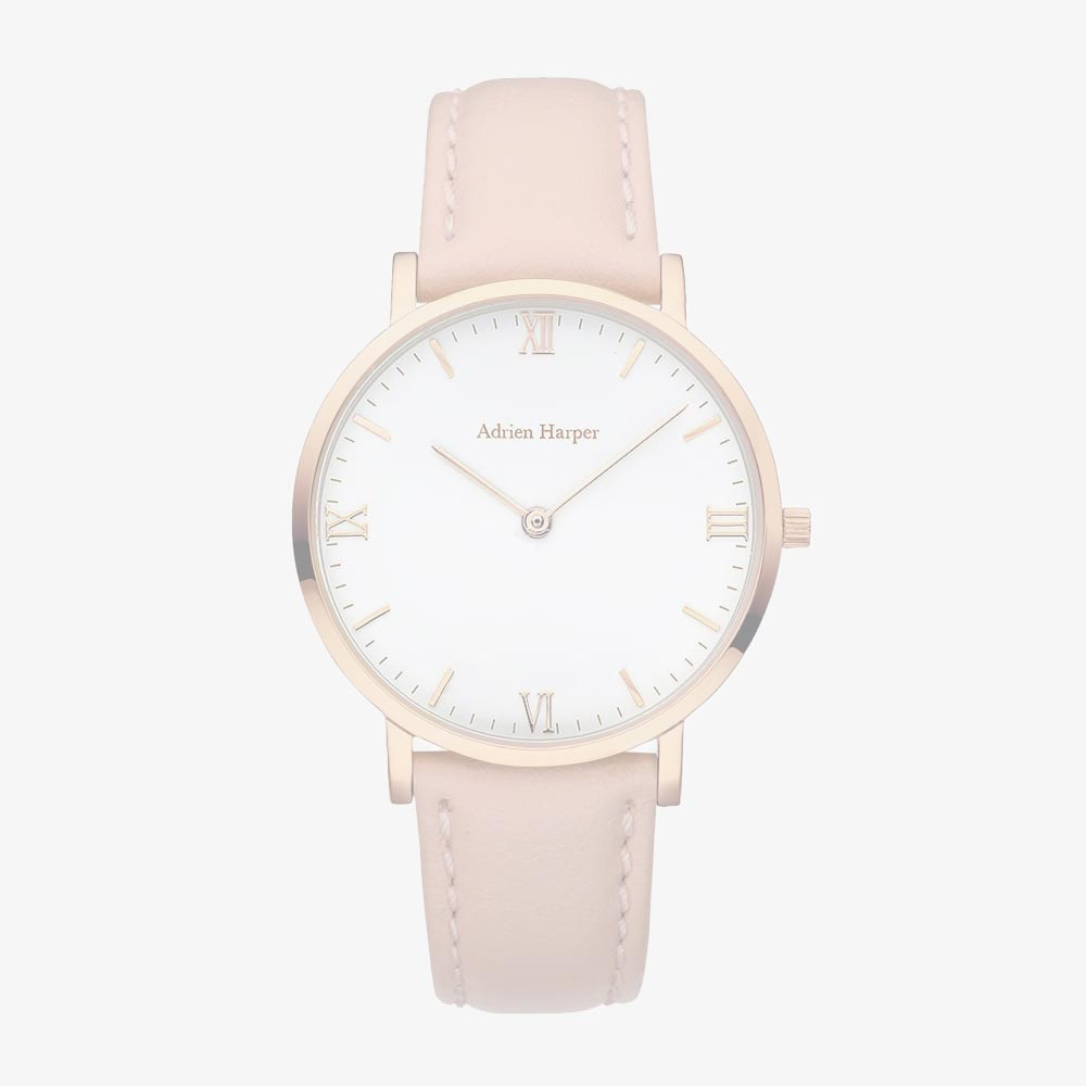 Rose White - Pink Leather