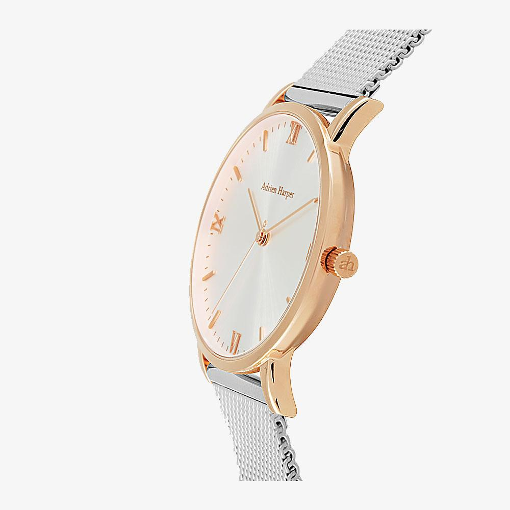 rose gold and silver ladies watch
