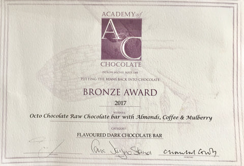 Bronze Award for our Raw Chocolate with Almonds Coffee & Mulberrys