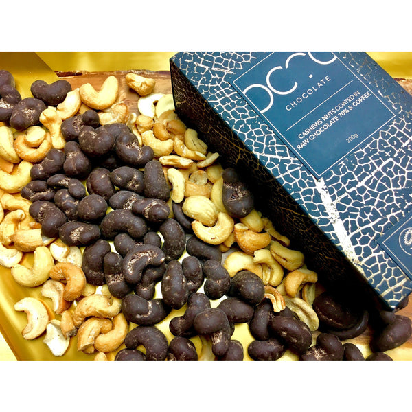 Fancy, hand made   Chocolate with coffee coated cashews