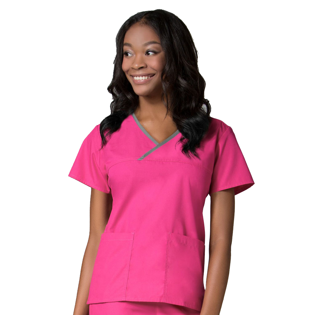 Pink Childcare Uniforms Like The Maevn Mock Wrap Childcare Uniform Top (1026)