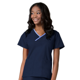 Navy blue nurses uniforms with designer contrast detailing. Navy blue veterinary uniforms and dog grooming clothes.