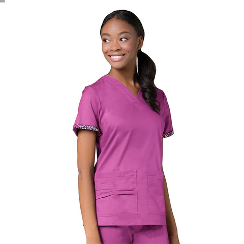 Orchid purple nurses scrubs, purple childcare uniforms, purple healthcare uniforms.