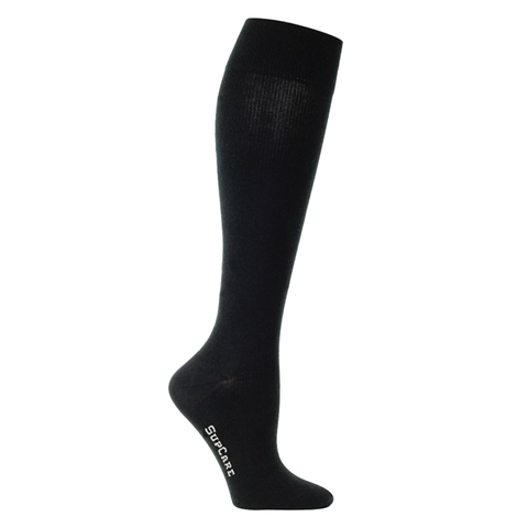 Black compression socks or black compression stockings with bamboo fibers.