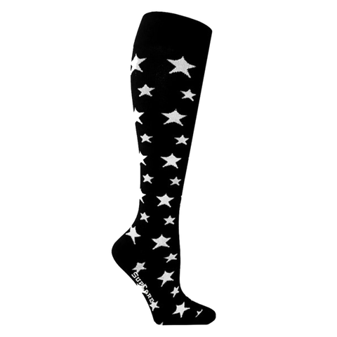 A funky twist compression socks - these compressions stockings come in black with white stars.