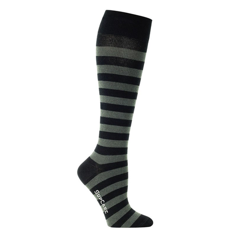 Black compression socks or black compression stockings with grey stripes.