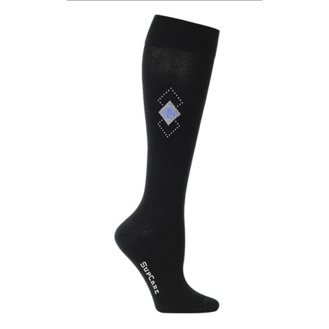 Who says compression socks have to have awful designs? Try these black compression socks or compression stockings with square design.