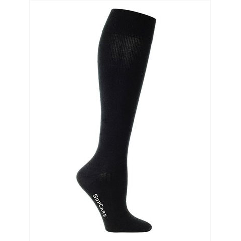 Black compression socks and black compression stockings.