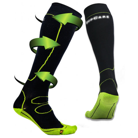 Black running compression socks with drirelease fibers from Clothes Rack Uniforms.