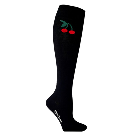 Black compession socks with cherries
