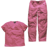 Who says that all scrub suit need to be navy? We have bright pink scrubs suits, perfect for dentist uniforms and care assistant uniforms.