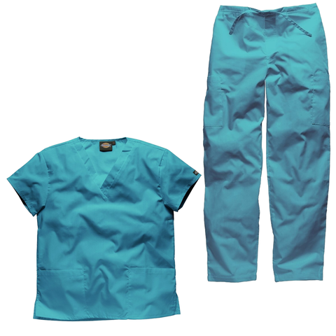Womens scrubs set and mens scrubs set in turquoise blue. These scrubs set will suit staff looking for a handy all rounder hospital uniform.