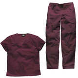 Doctors scrubs now available in wine from the Dickies Scrubs Set range.