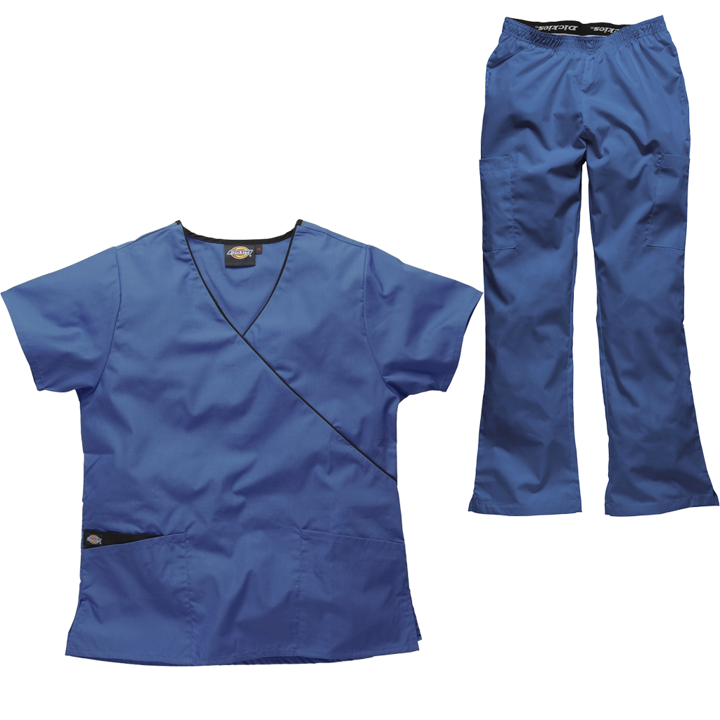 Dickies Ladies Scrubs Set Mock Wrap Scrub Top Bootcut