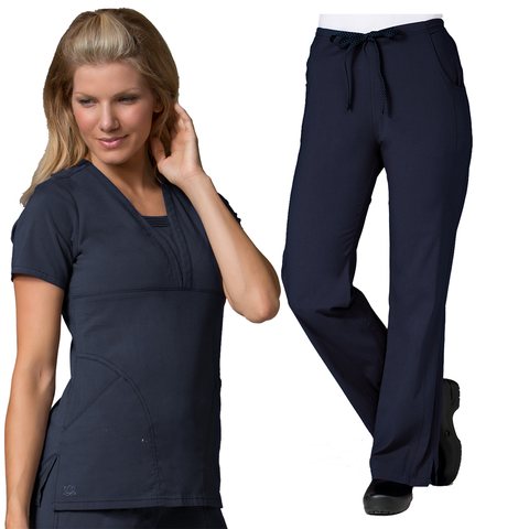 Beautiful scrub top and scrub trousers set for nurses uniforms, nursing uniforms and nursing home uniforms.