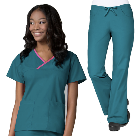 Teal Green Ladies Hospital Scrubs Set or Medical Uniforms Set