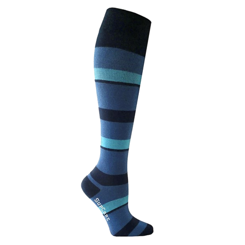 Blue compression socks with a turquoise stripe are perfect for any medical scrubs, healthcare uniforms or nurses uniforms.