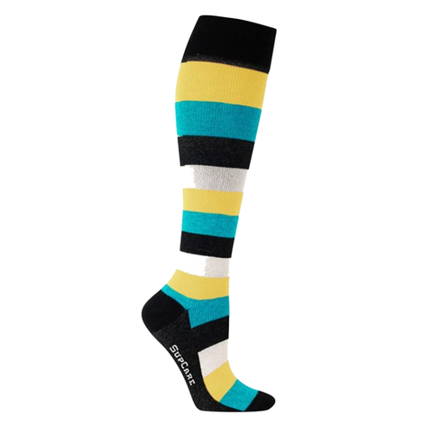 These turquoise and yellow striped compression socks are sure to get you noticed in work for all the right reasons!